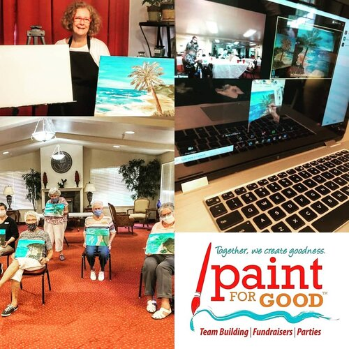 Isolation is very hard for everyone during Covid, but especially for our seniors. The residents of Dogwood Terrace enjoyed painting our Moroccan Beach scene on Zoom with the help of Jamie, their activities director! Together We Create Goodness!