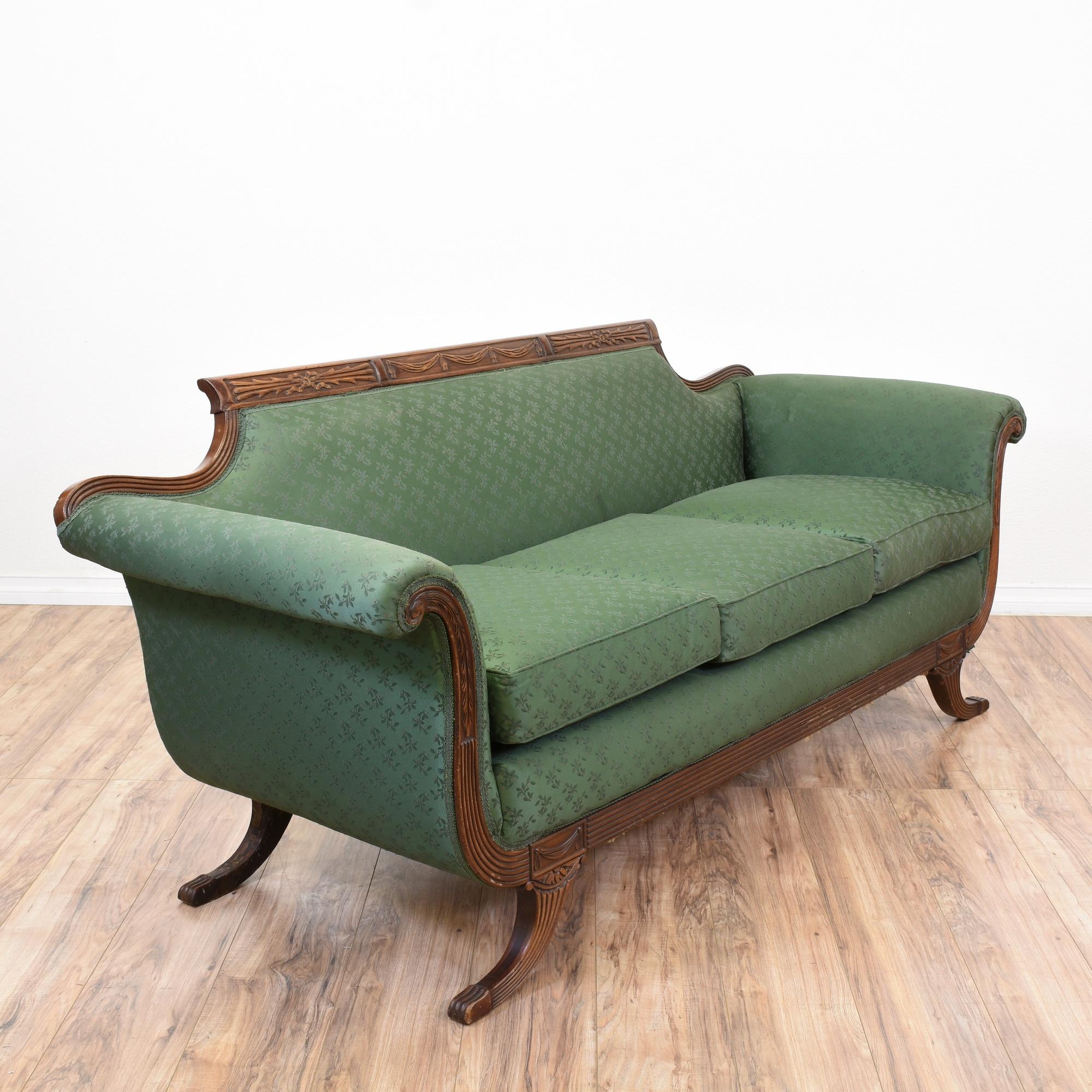 Antique Sofa Duncan Phyfe: Floral Green Duncan Phyfe Inspired Sofa