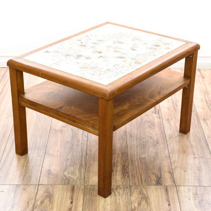 Map Coffee Table Ethan Allen: Round Carved Pedestal Side Table