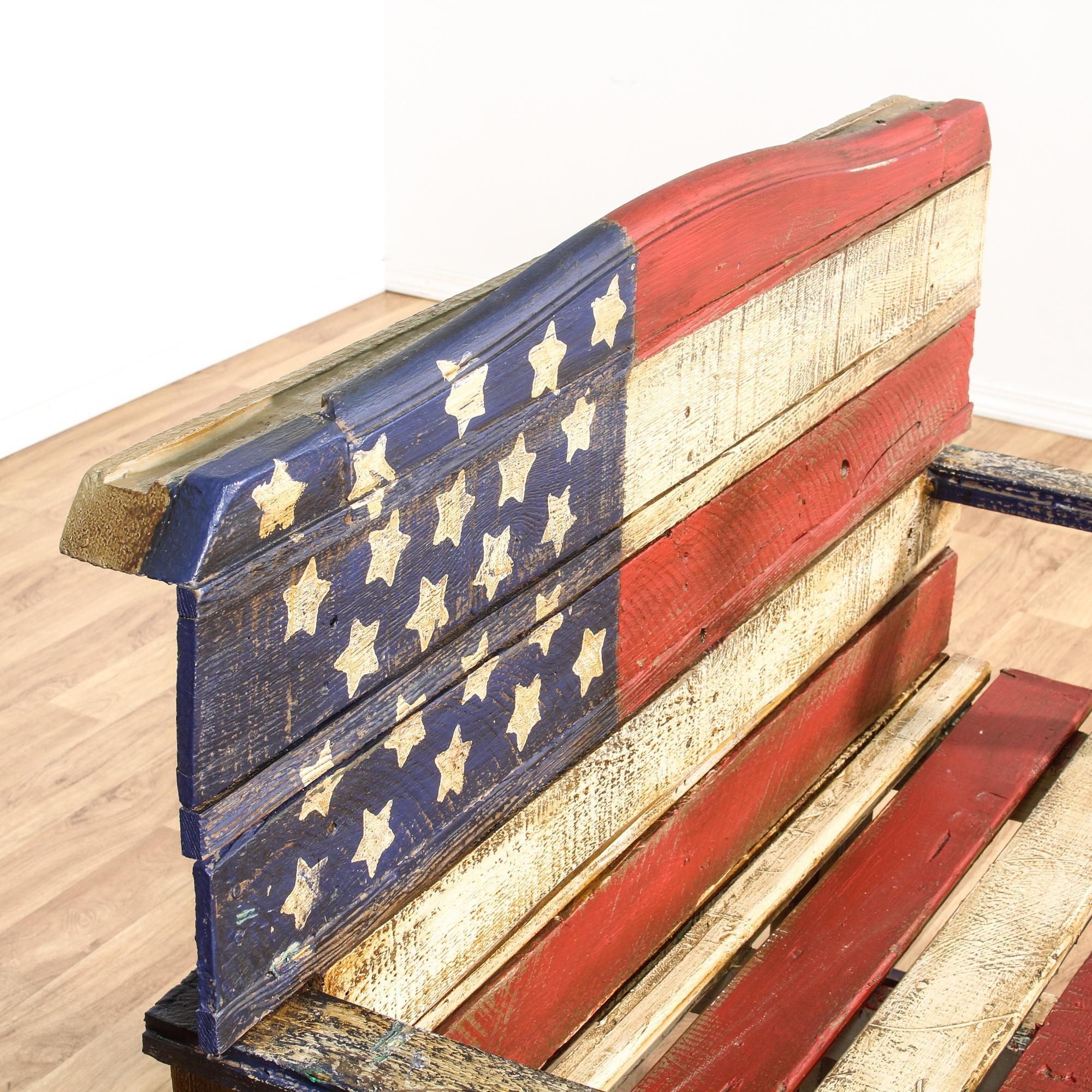 Rustic Wood Painted American Flag Bench Loveseat Vintage