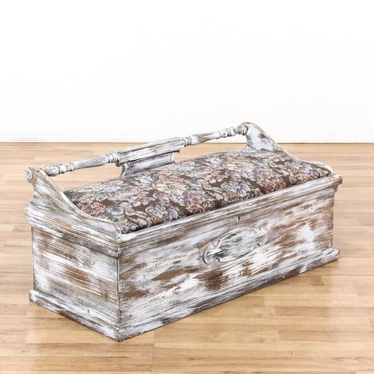 White Washed Shabby Chic Storage Bench