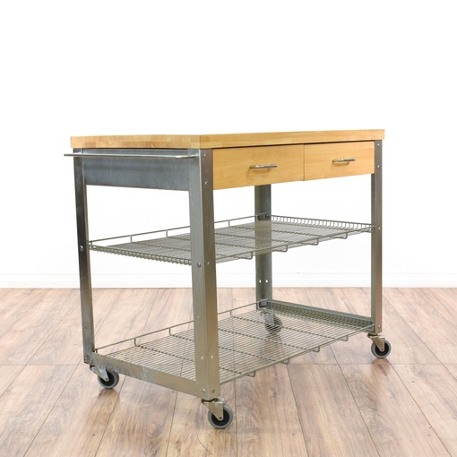 Vintage Kitchen Island Industrial Moving Rolling Cart: Rolling Stainless Steel Kitchen Island Cart
