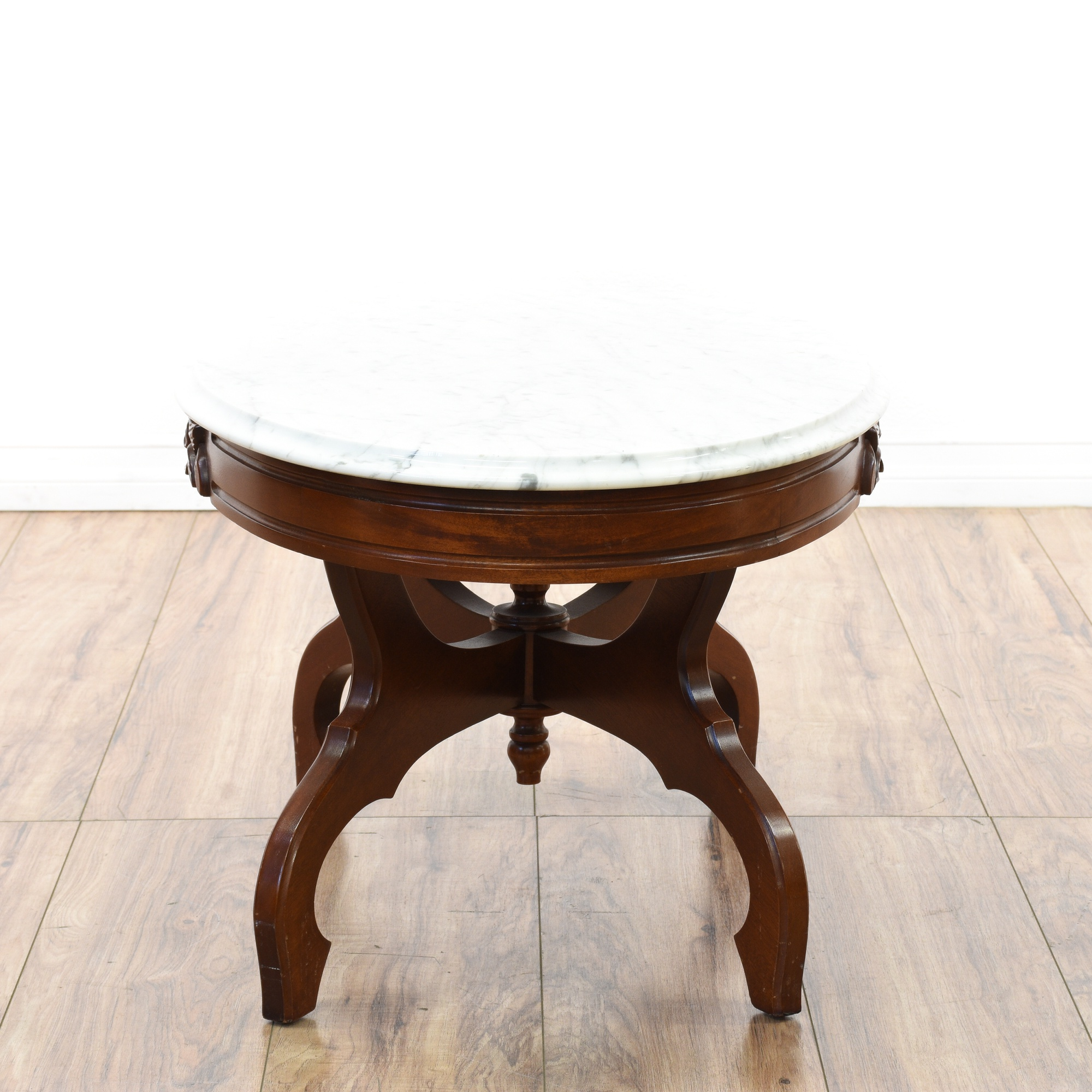 French Victorian Coffee Table: Victorian Cherry Carved Marble Top Coffee Table