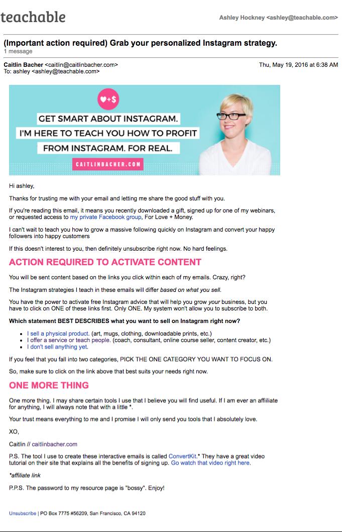 Caitlin Bacher email course autoresponder