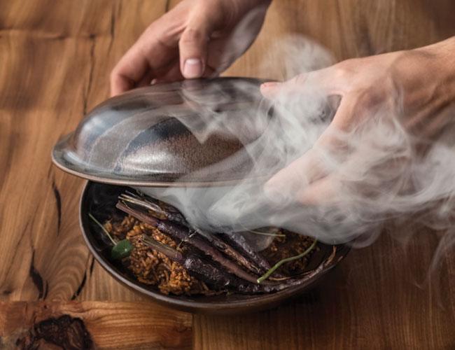 Jollof rice and smoked bone marrow