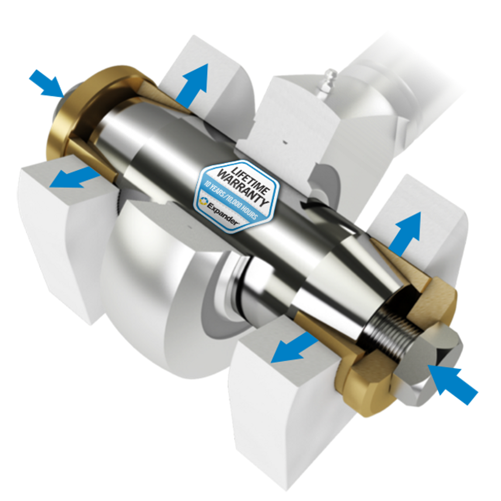 Expander System is appreciated due to simplified and shortened repair time. The expanding sleeve system can be installed directly in worn lugs.