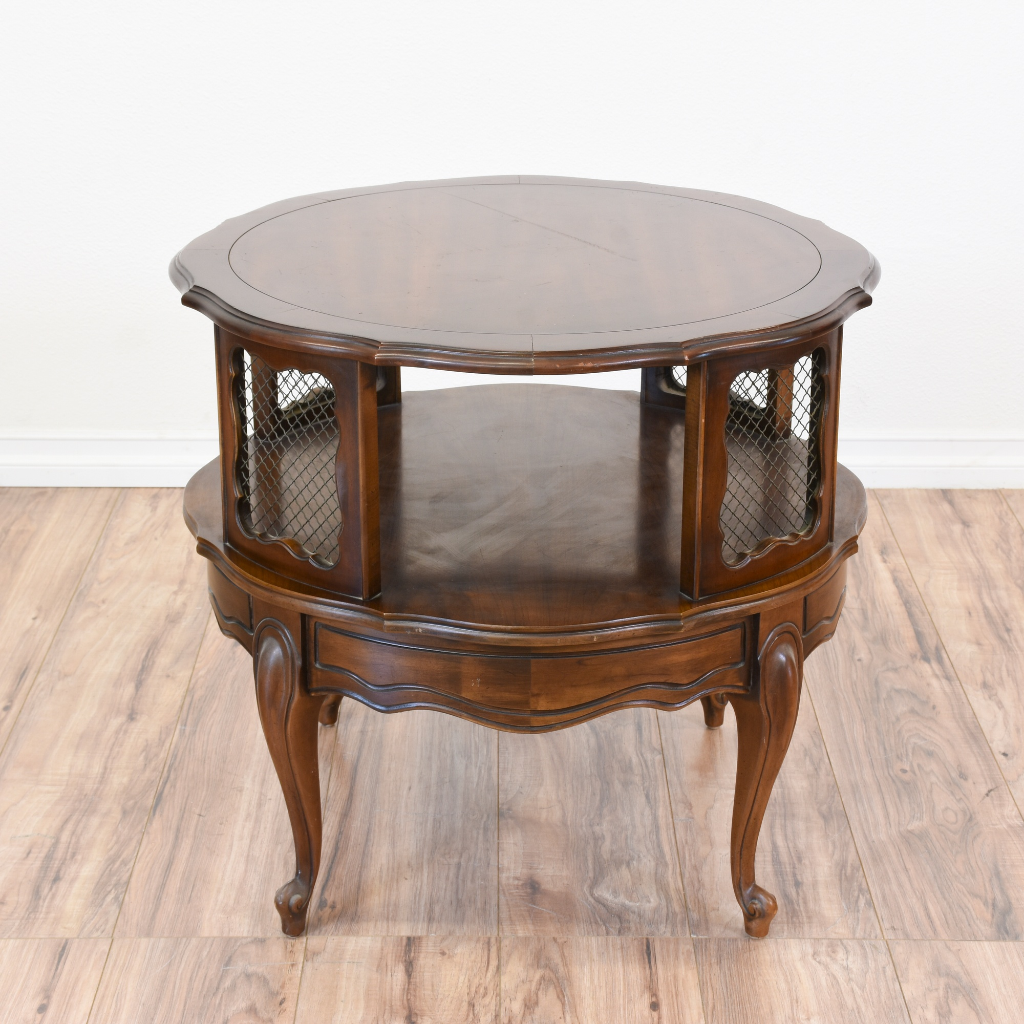 Round 2 Tiered Cherry French Provincial Side Table | Loveseat Vintage  Furniture San Diego