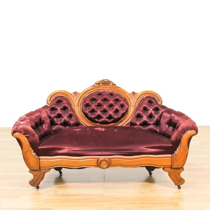Purple Victorian Carved Walnut Frame Sofa Loveseat