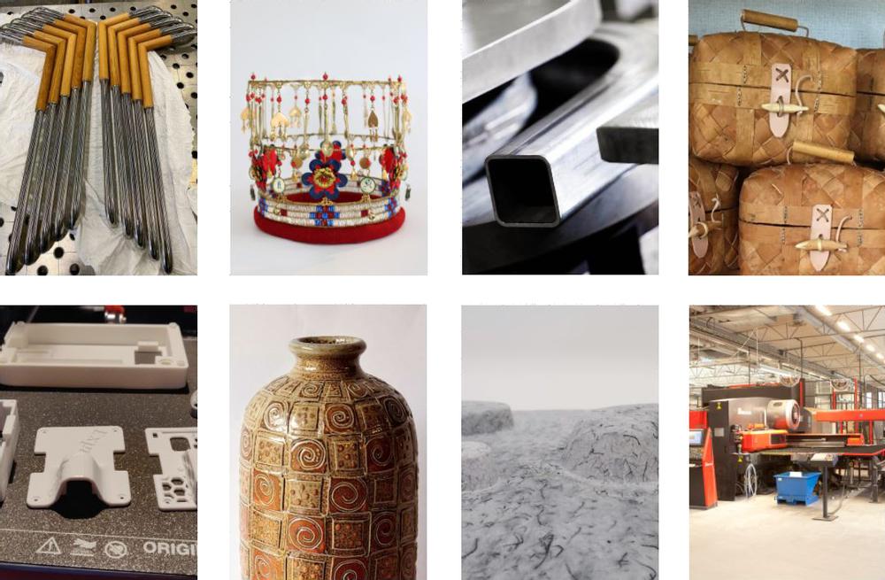 Kollage med föremål i olika material.