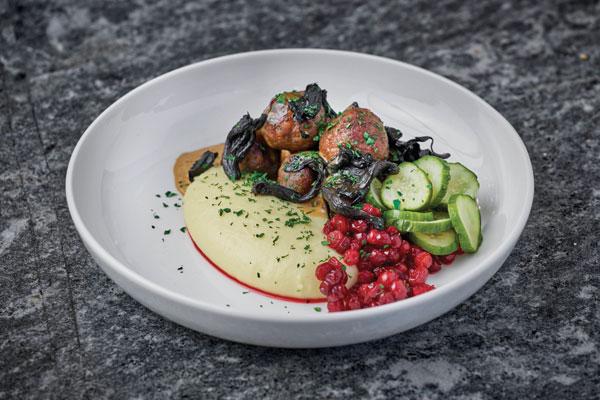 Swedish meatballs, lingonberries, pickled cucumber