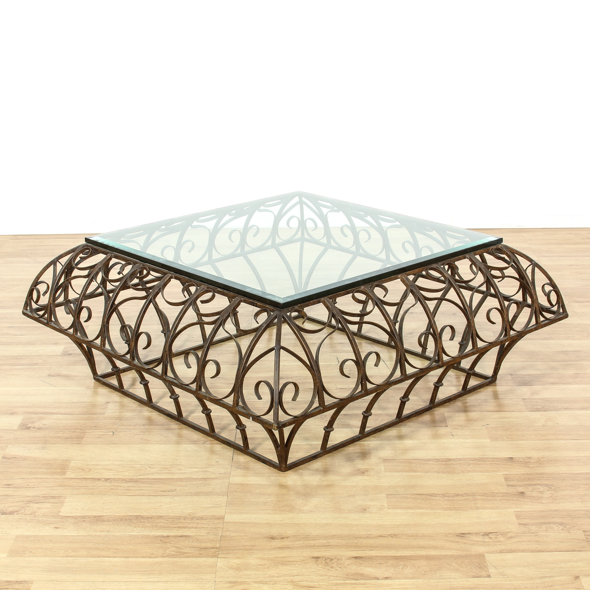 Bronze And Glass Coffee Table: Scrolled Bronze Iron Glass Top Coffee Table