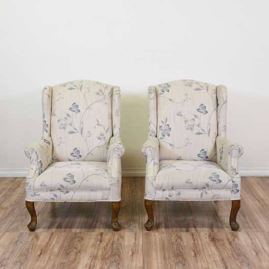 Pair of White & Blue Floral Wingback Armchairs