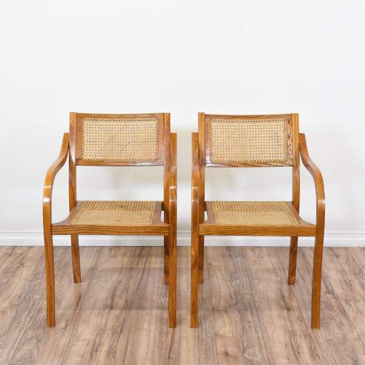 Pair of Cane Seat Dining Side Chairs