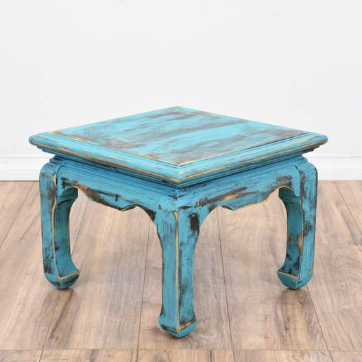 Blue Shabby Chic Carved Asian Style End Table