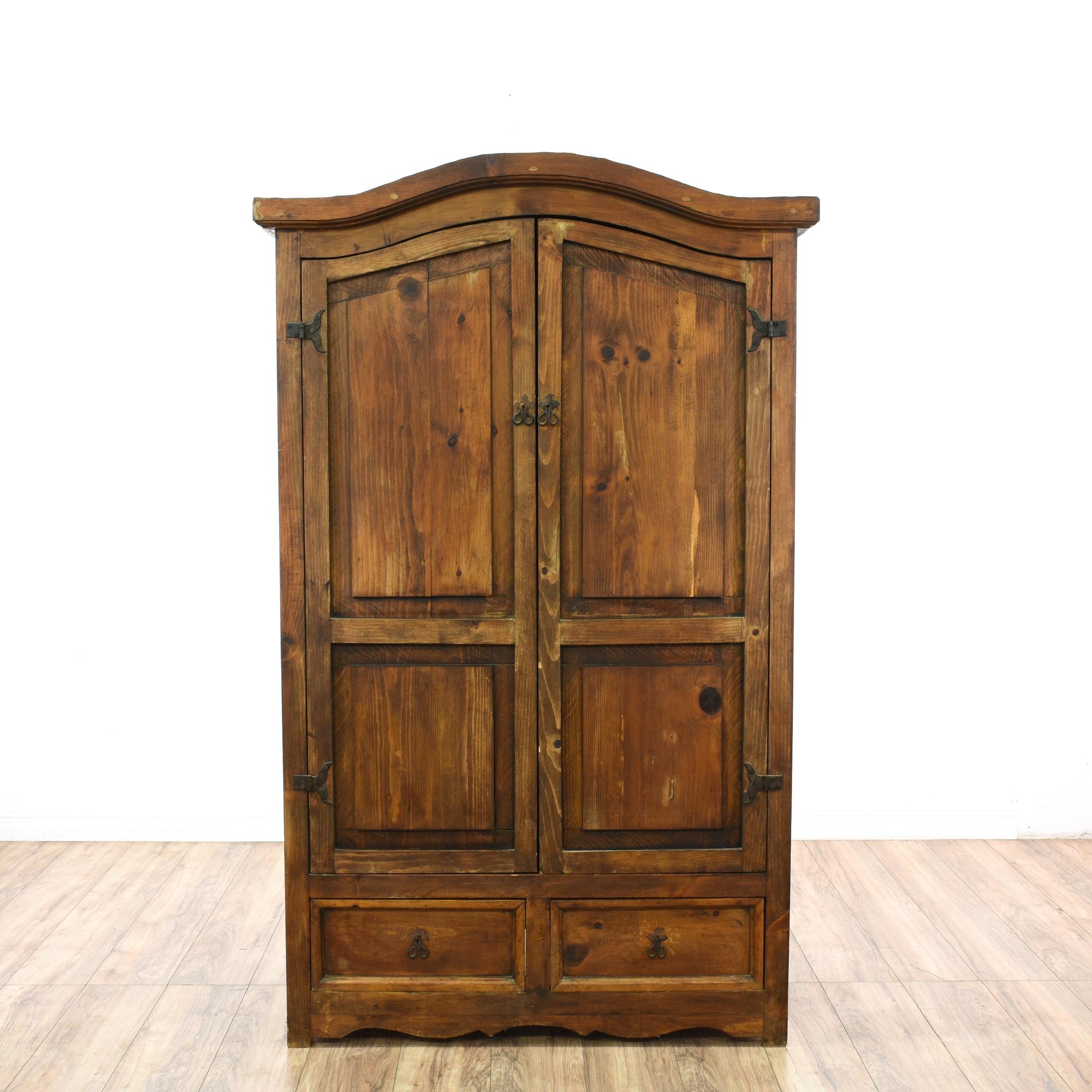 rustic pine 2 drawer armoire wardrobe loveseat vintage. Black Bedroom Furniture Sets. Home Design Ideas