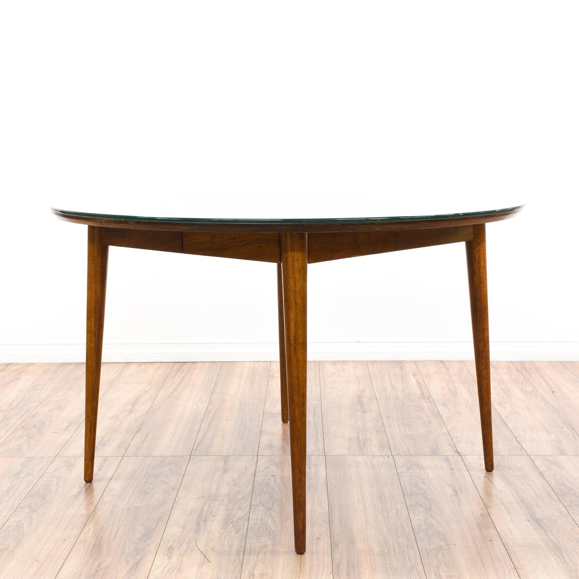 Mid Century Modern Walnut Glass Top Dining Table