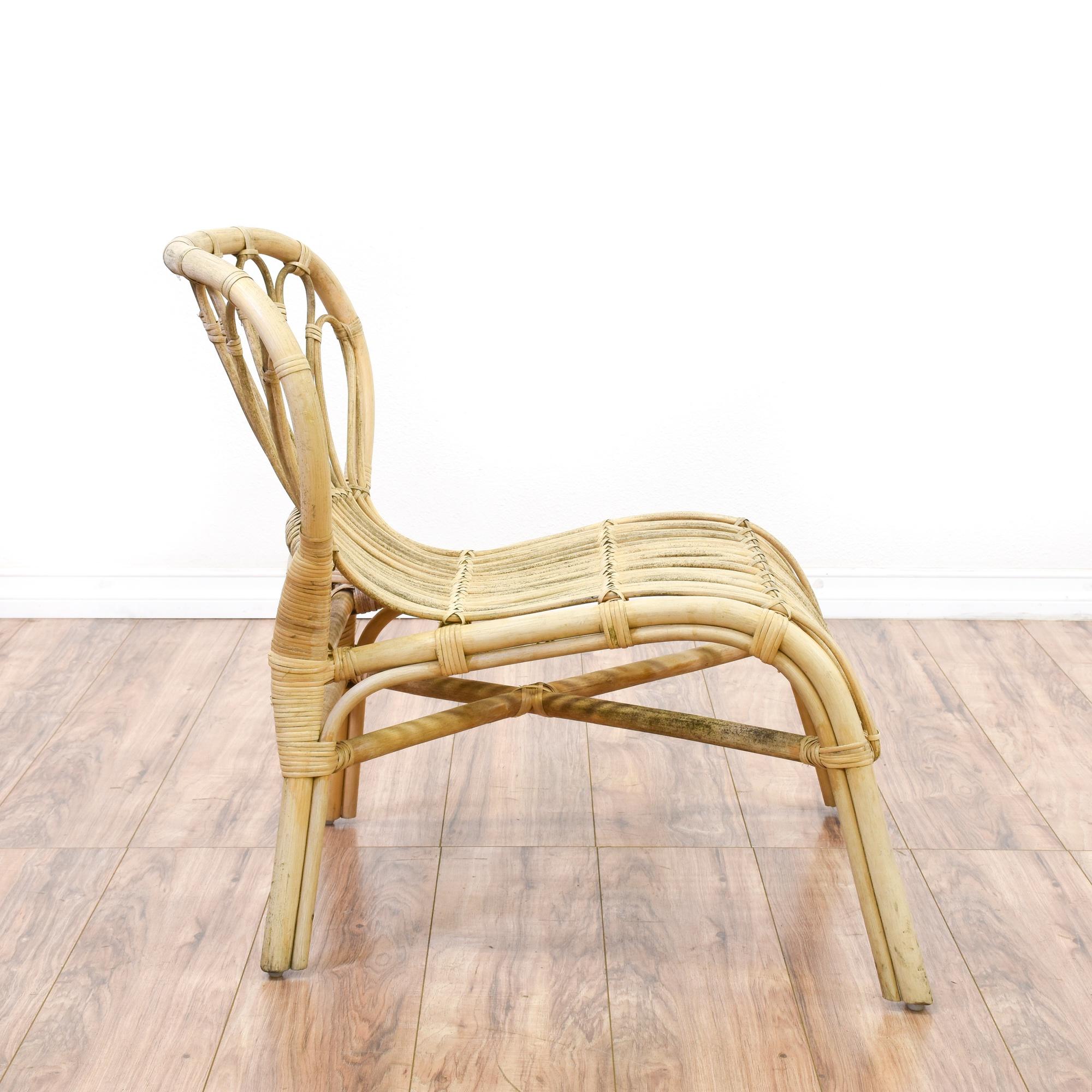 Bohemian Light Rattan Accent Chair Loveseat Vintage