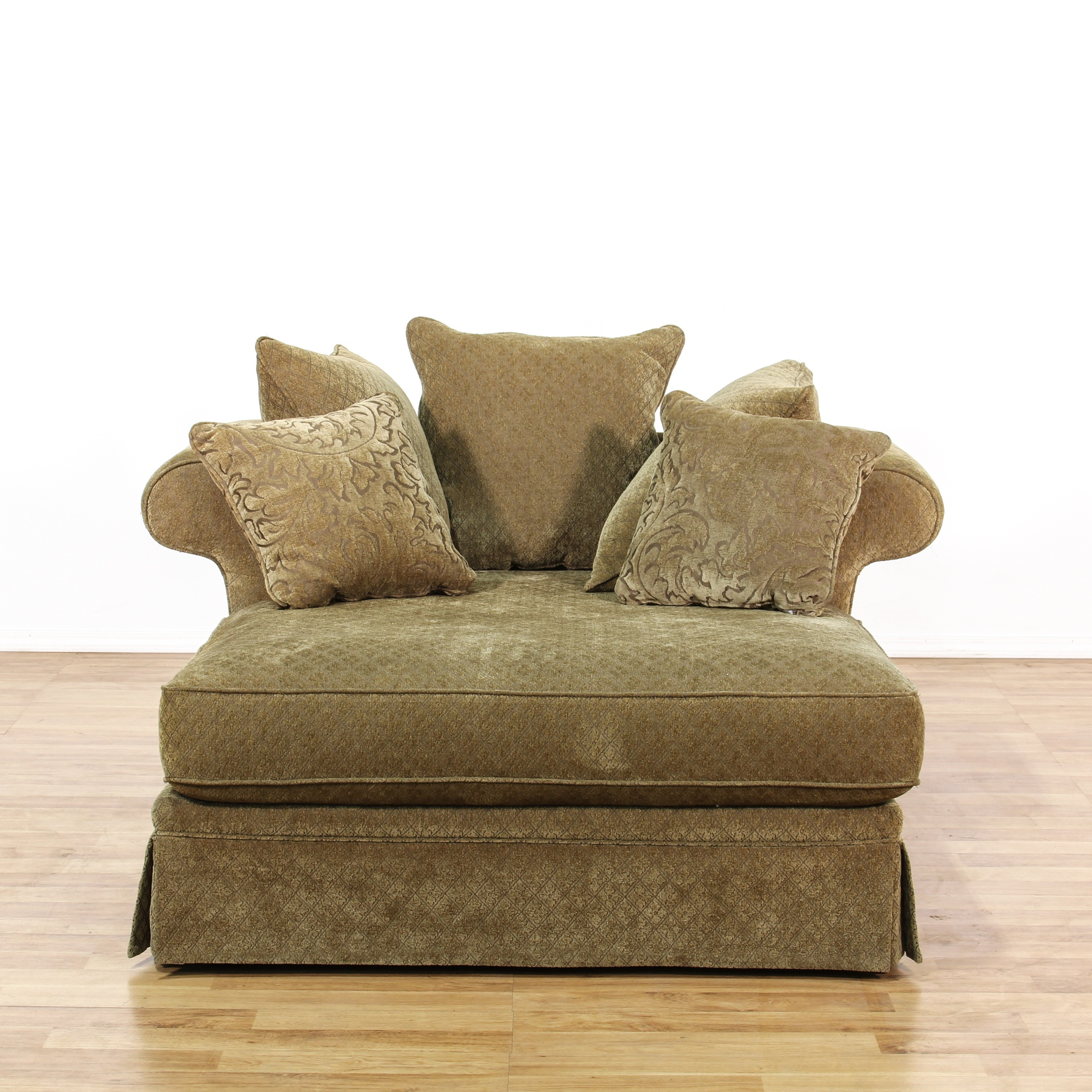 Sage Green Double Chaise Lounge Loveseat Vintage
