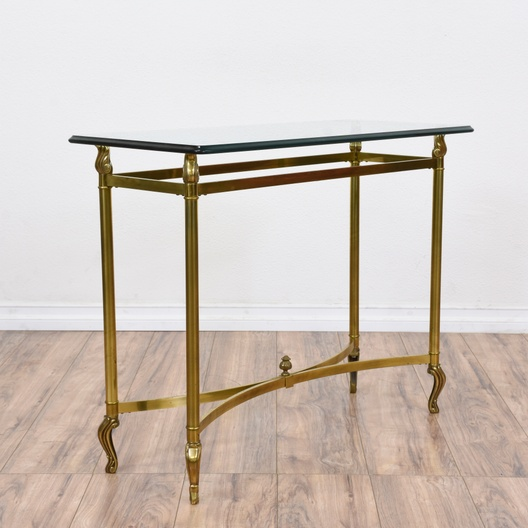 Brass Glass Top Console Sofa Table Loveseat Vintage Furniture San