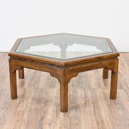 Hexagon glass top coffee table loveseat vintage for Hexagon coffee table glass
