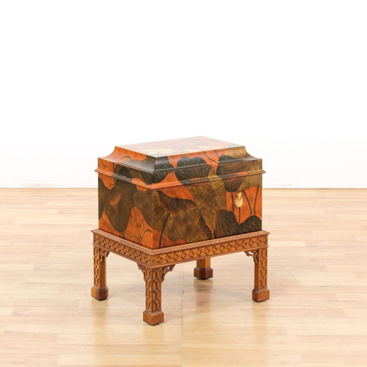 Asian style painted trunk on carved stand loveseat for Oriental furniture los angeles