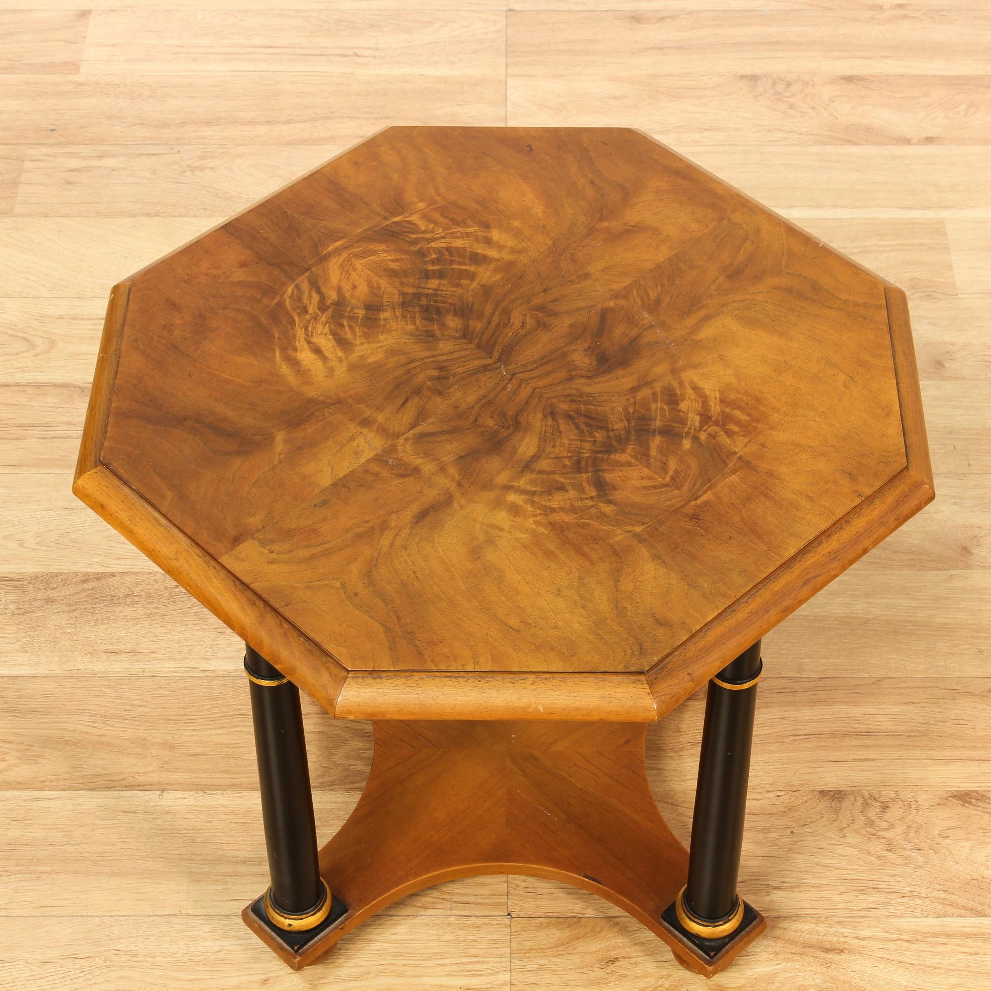 Small wood end table w platform bottom loveseat vintage