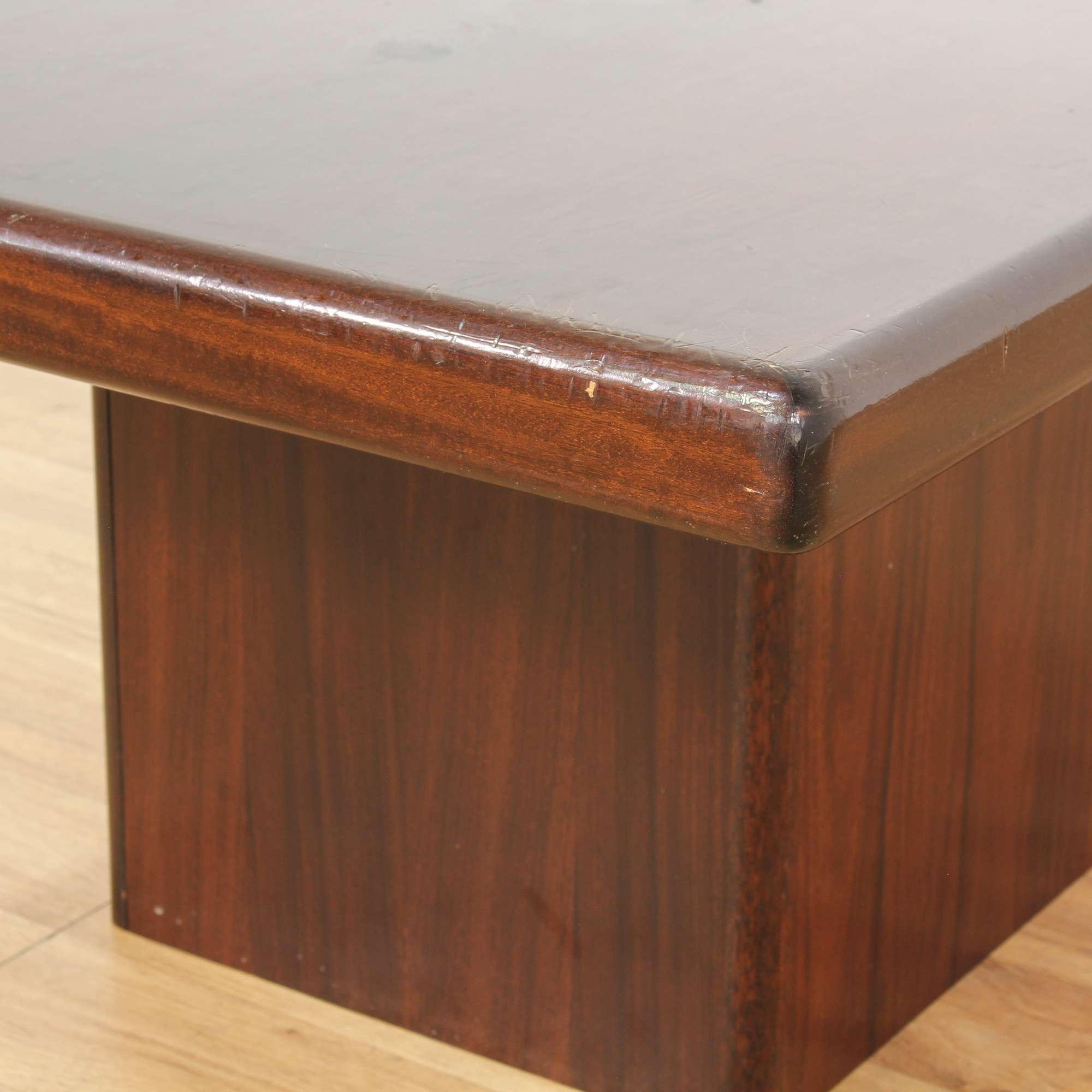 Mid Century Wooden Block Base Coffee Table
