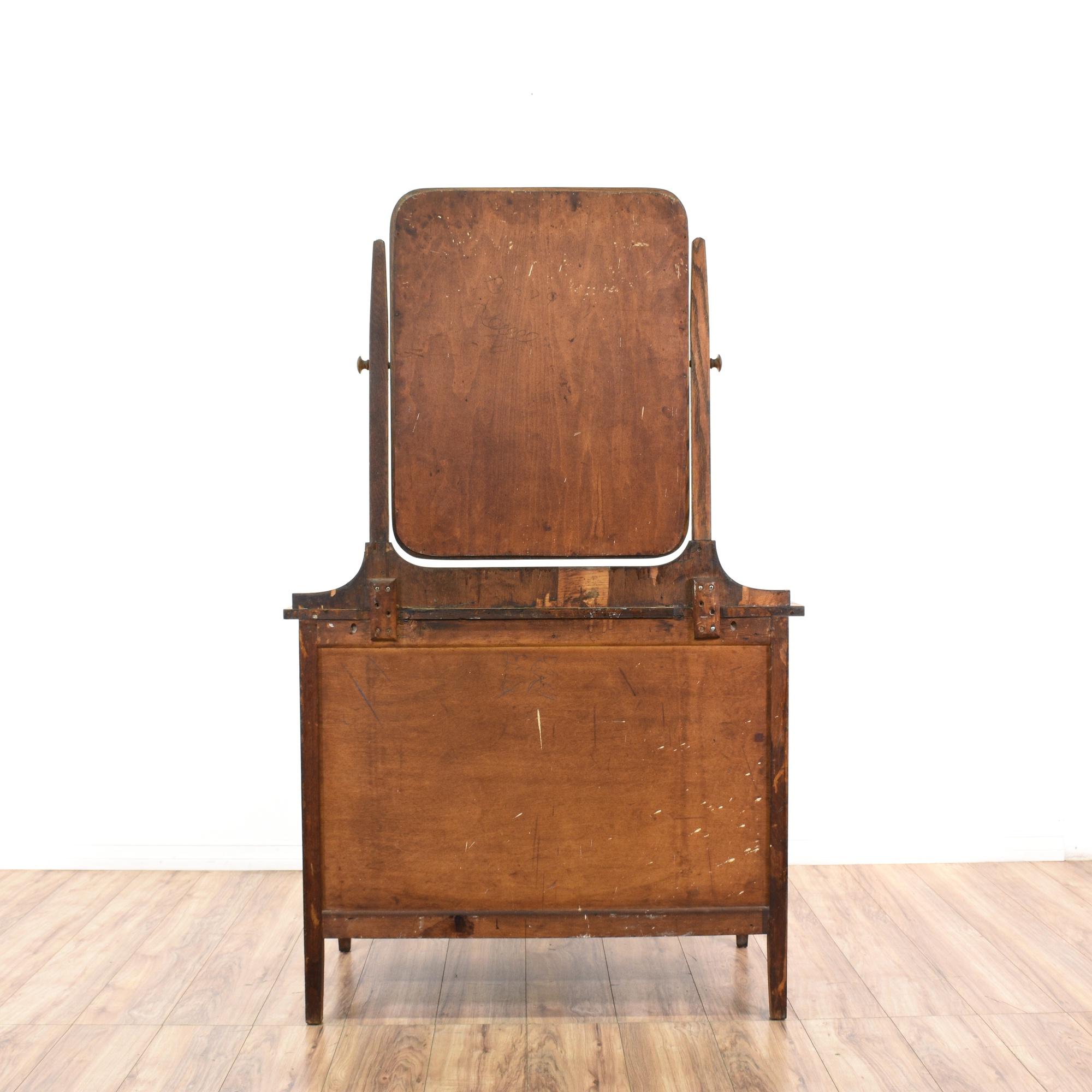 Antique Tiger Oak Vanity Dresser W Mirror Loveseat