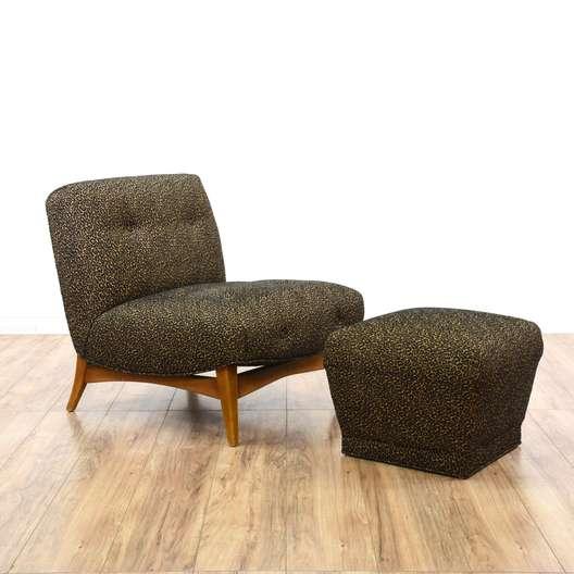 Mid Century Modern Cheetah Print Chair & Ottoman