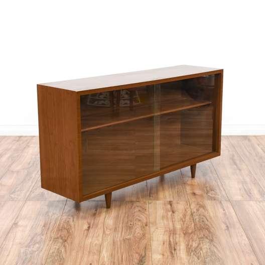 Mid Century Modern Walnut Bar Display Case