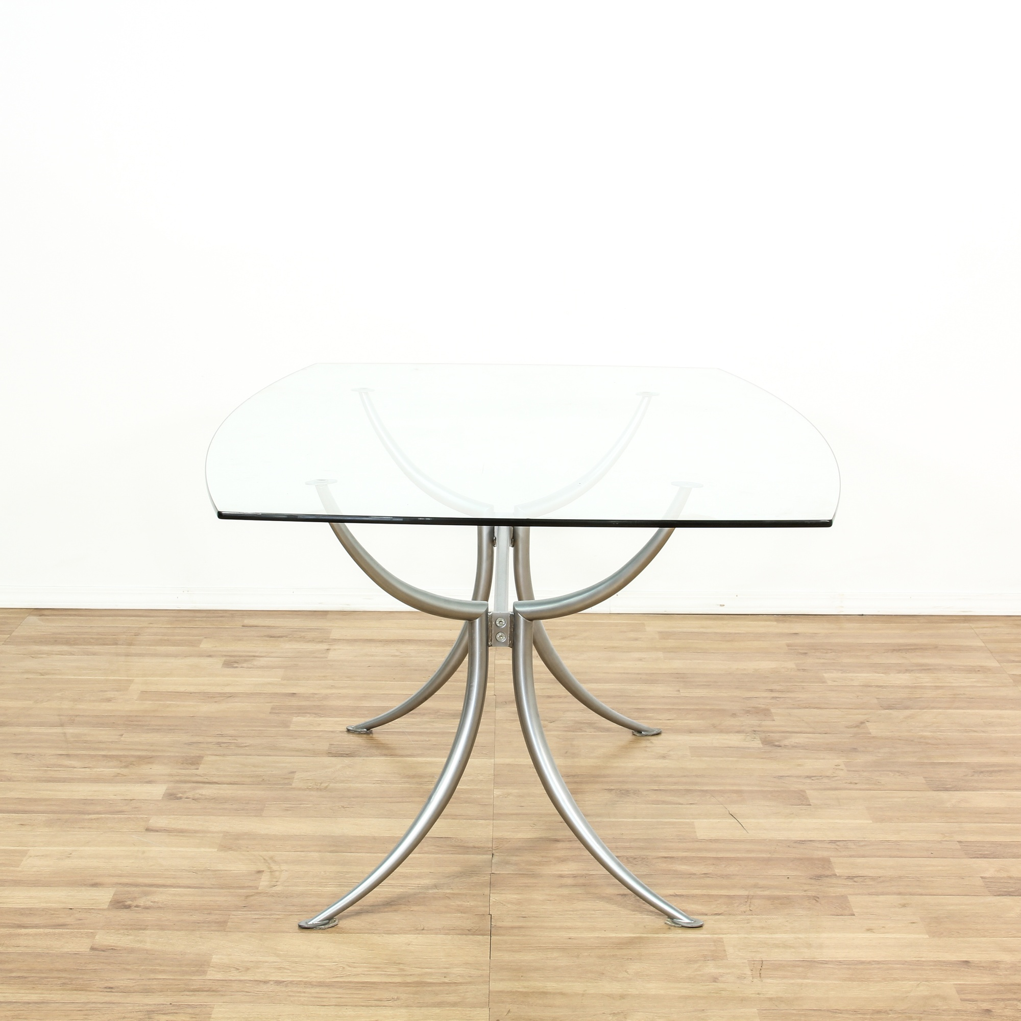 Contemporary Curved Metal Glass Top Dining Table