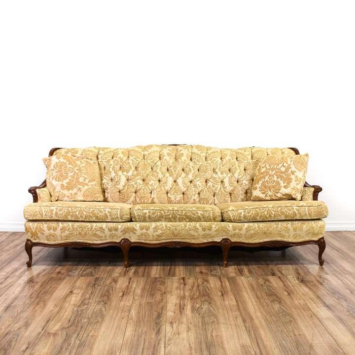 Long Damask Voided Velvet Mustard Yellow Sofa Loveseat