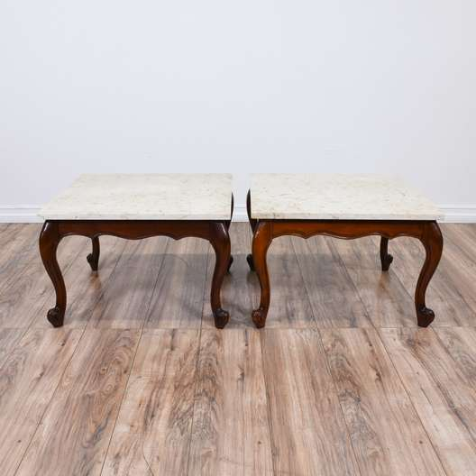 Pair of Marble Top Queen Anne End Tables