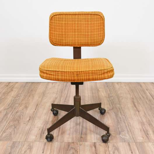 Orange Plaid Mid Century Modern Desk Chair