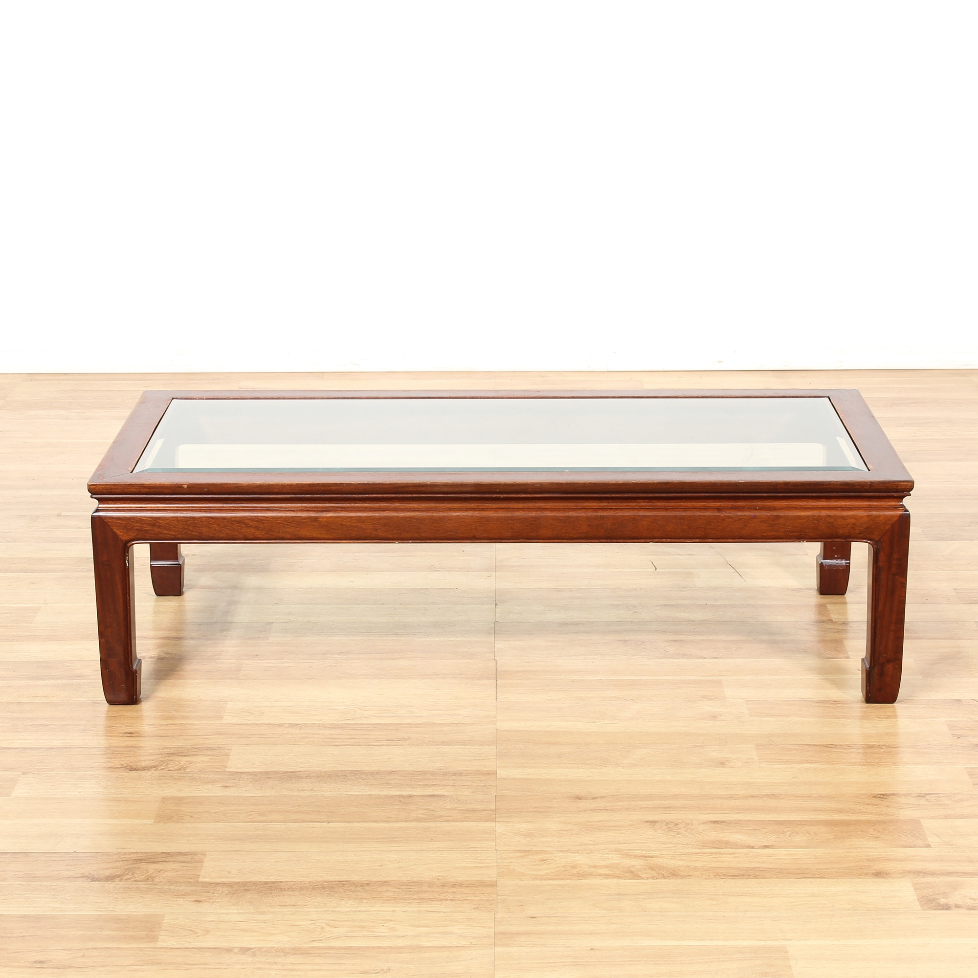 Chinese Chow Table Style Glass Insert Coffee Table | Loveseat Vintage  Furniture Los Angeles