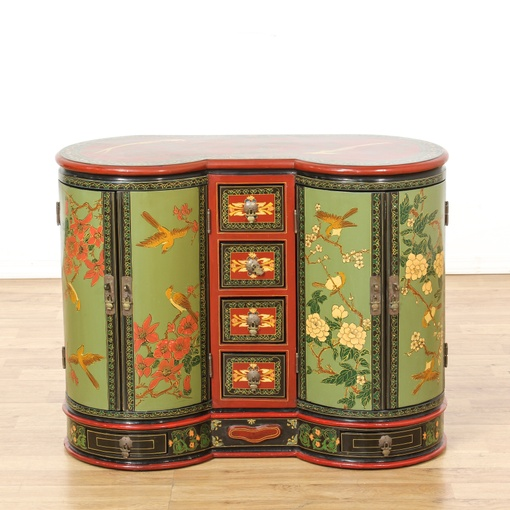 Kidney Shaped Painted Asian Cabinet Loveseat Vintage