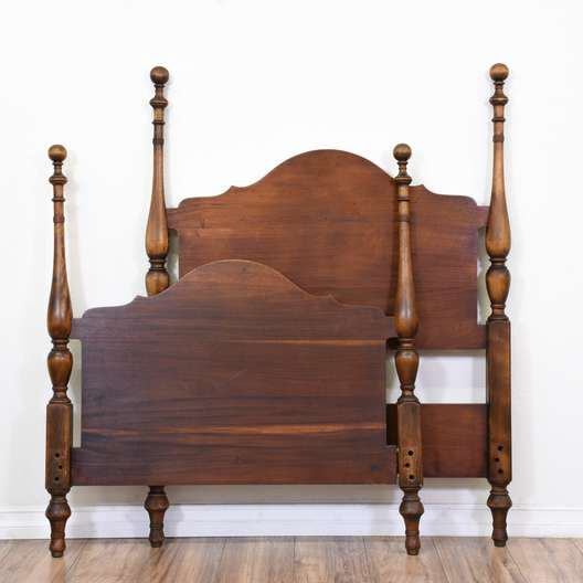 Antique Twin Carved Headboard Footboard