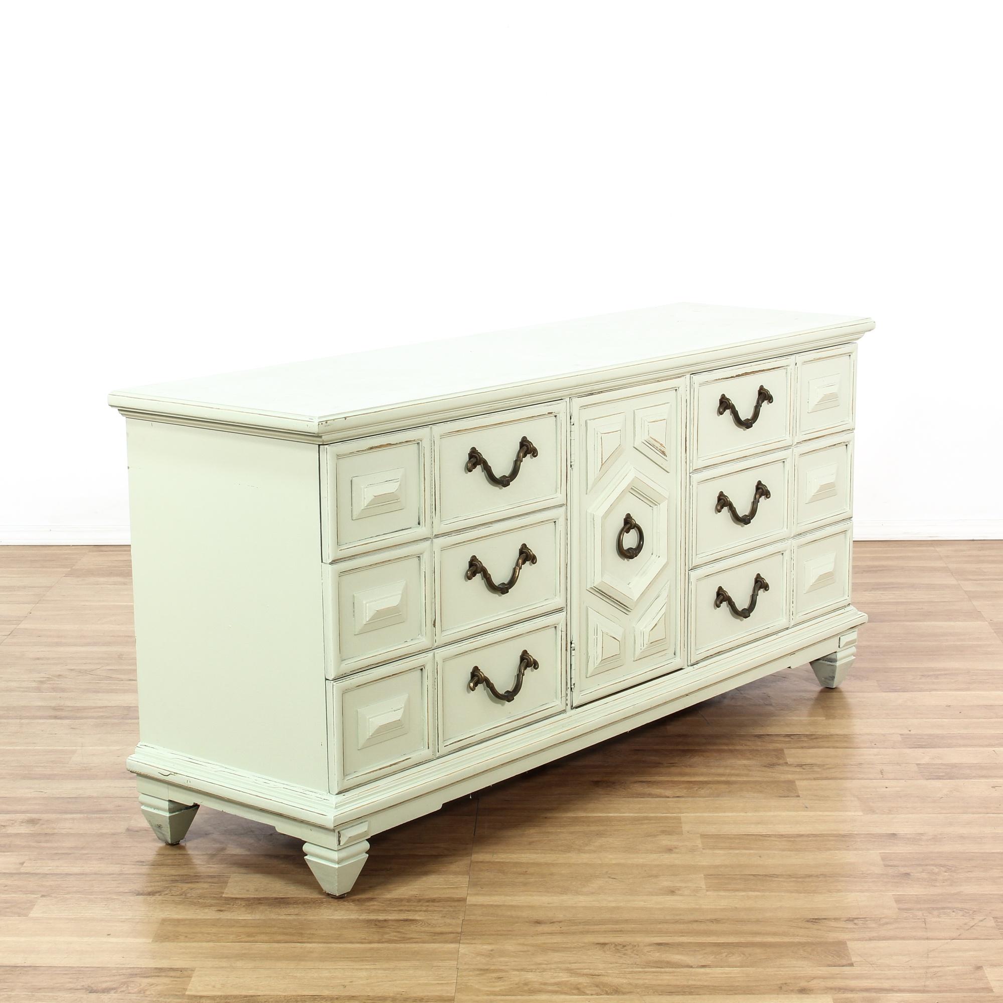Shabby Chic White Long 6 Drawer Dresser | Loveseat Vintage ...