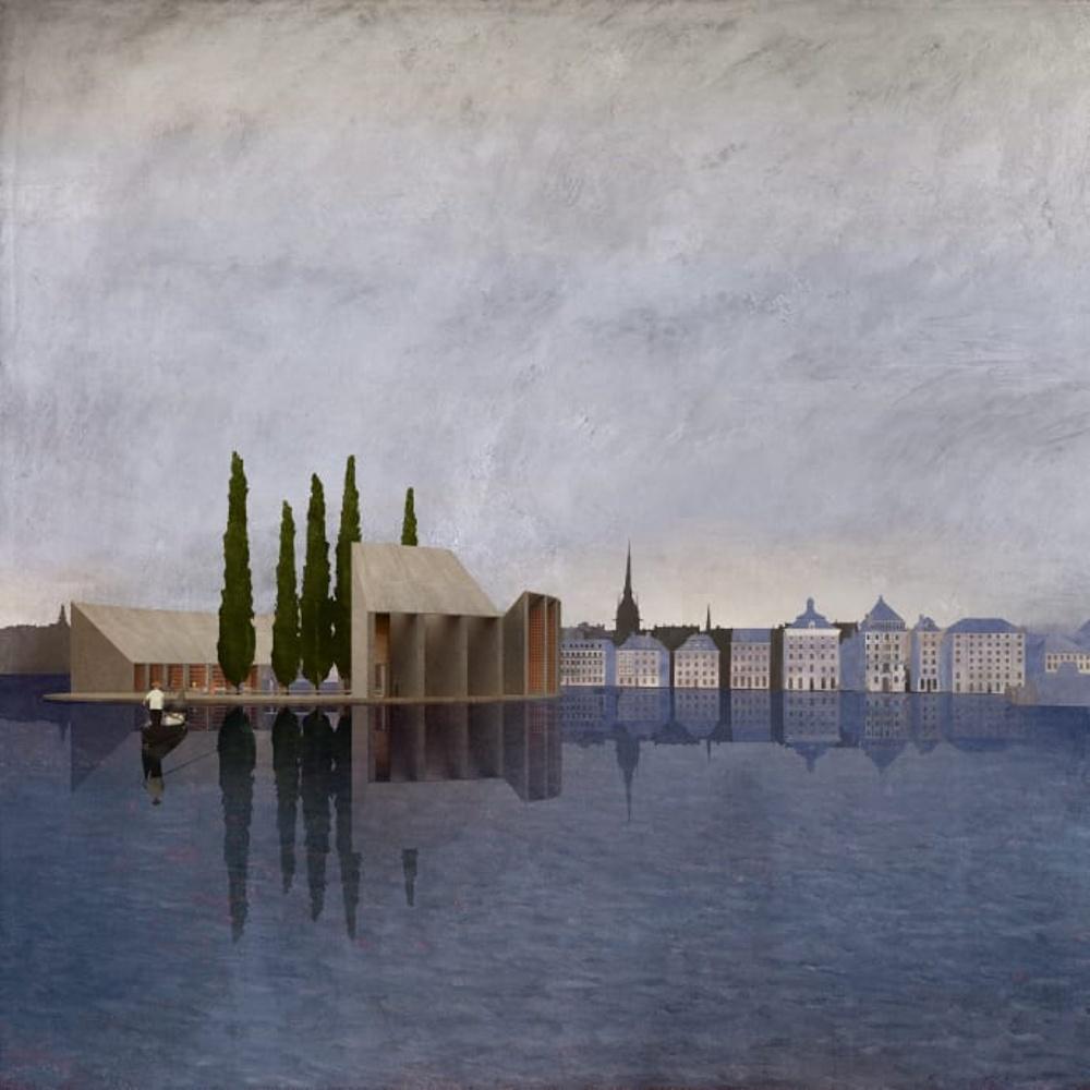 I utställningen Arkitekturvisioner: Skeppsbron har åtta arkitekter och arkitektkontor skapat spekulativa förslag för ett framtida Skeppsbron och Skeppsbrokajen i Stockholm. Ovan förslaget från Nilsson Rahm.
