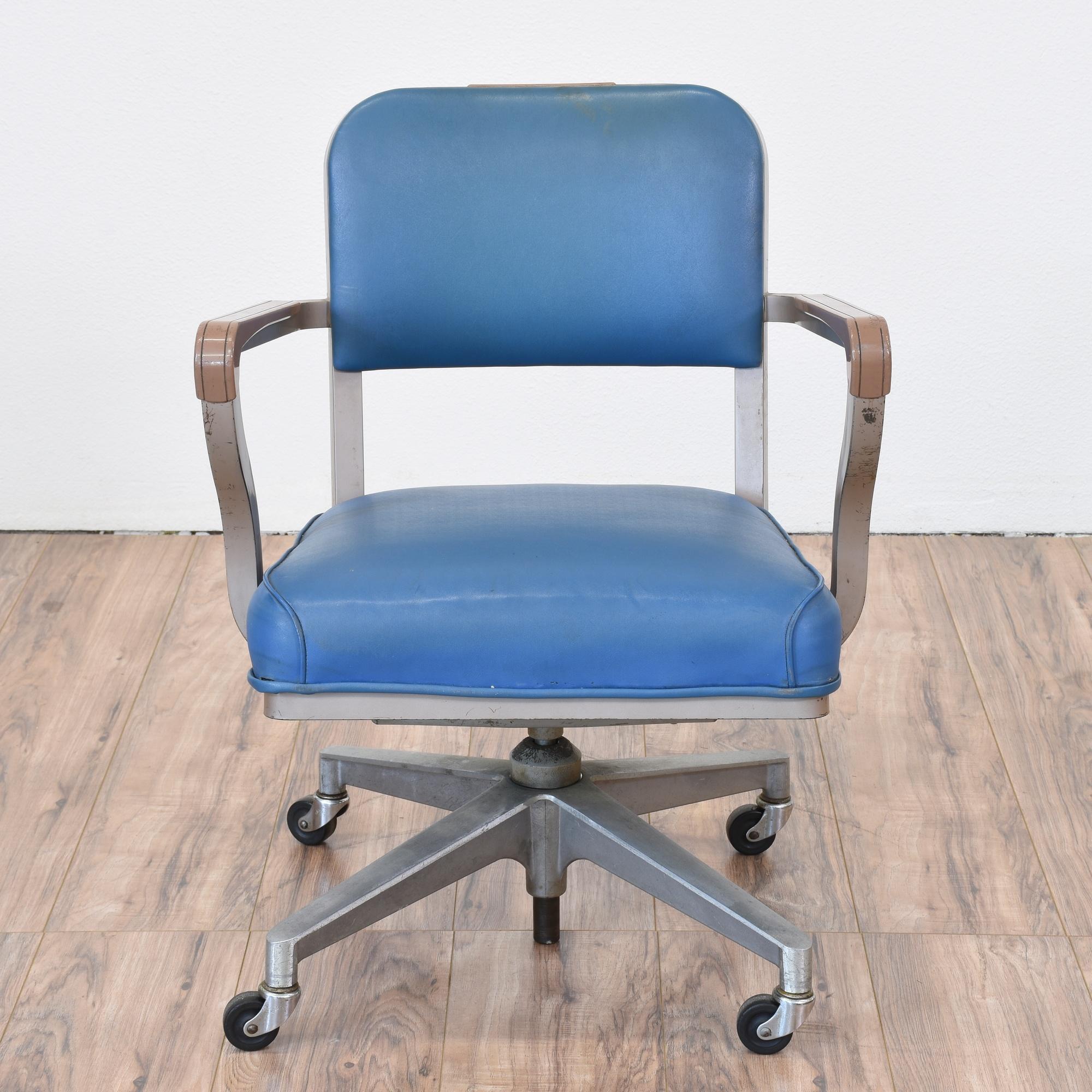 "Vintage ""Steelcase"" Industrial Blue fice Chair"