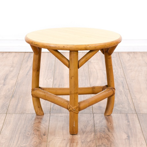 Round Bohemian Bamboo Side Table Loveseat Vintage