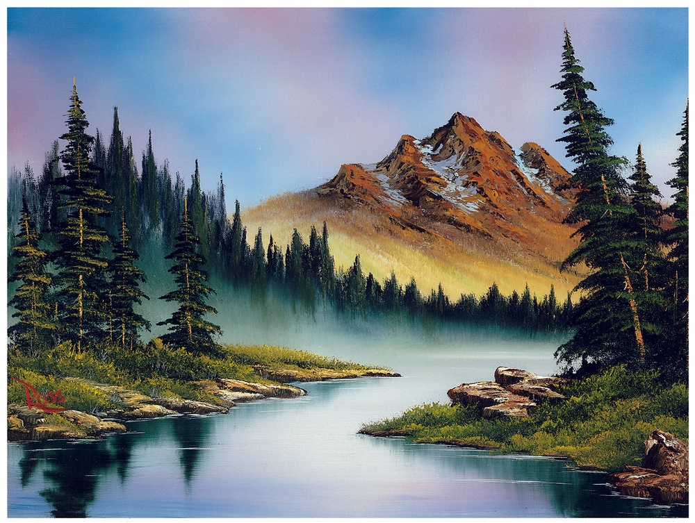 Bob Ross was an American painter, art instructor, and television host of 'The Joy of Painting' (PBS, 1983-1994). ® Bob Ross name and images are registered trademarks of Bob Ross Inc. © Bob Ross Inc. Used with permission.