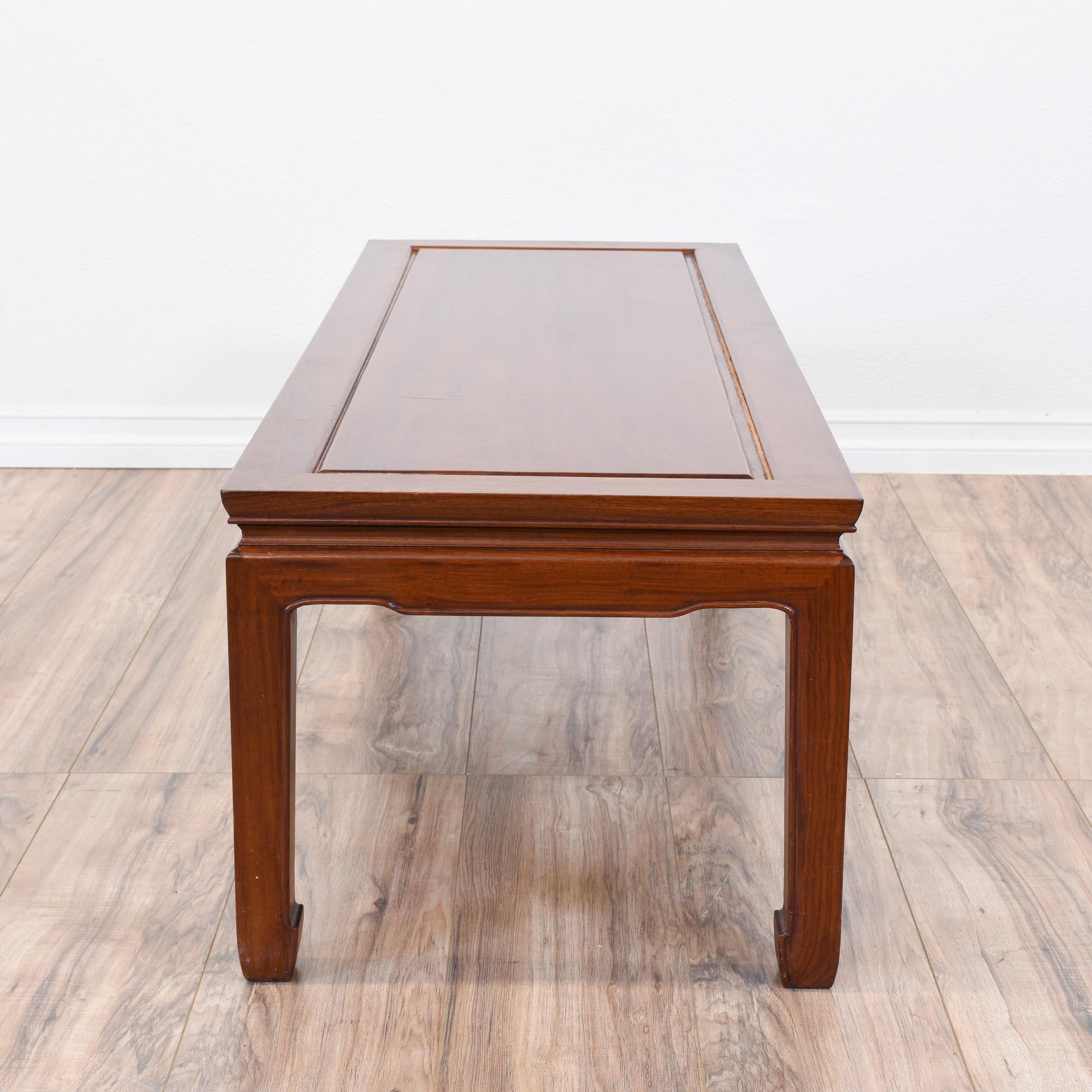 Carved Asian Inspired Teak Coffee Table Loveseat Vintage Furniture San Diego Los Angeles