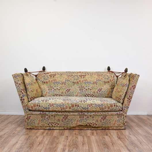 Vintage Floral Needlepoint Knole Settee Sofa