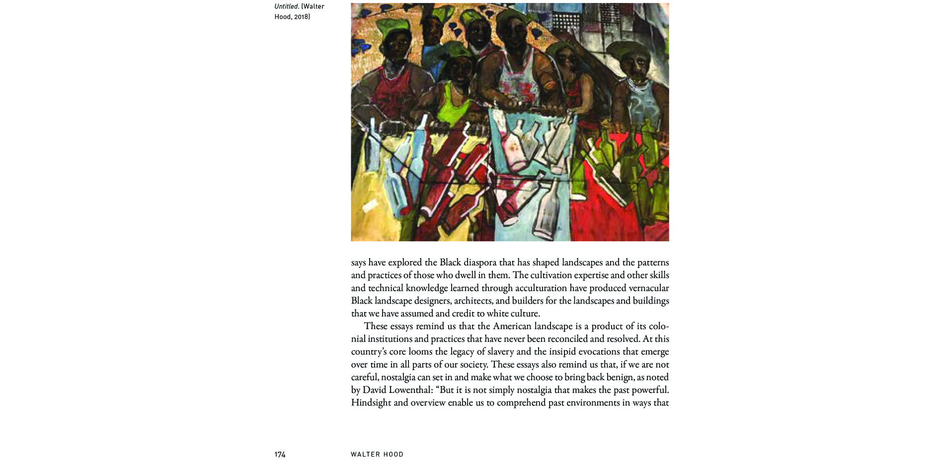 Black Landscapes Matter, page from Walter Hood's Afterword (pg. 174), text and Untitled, painting by Walter Hood