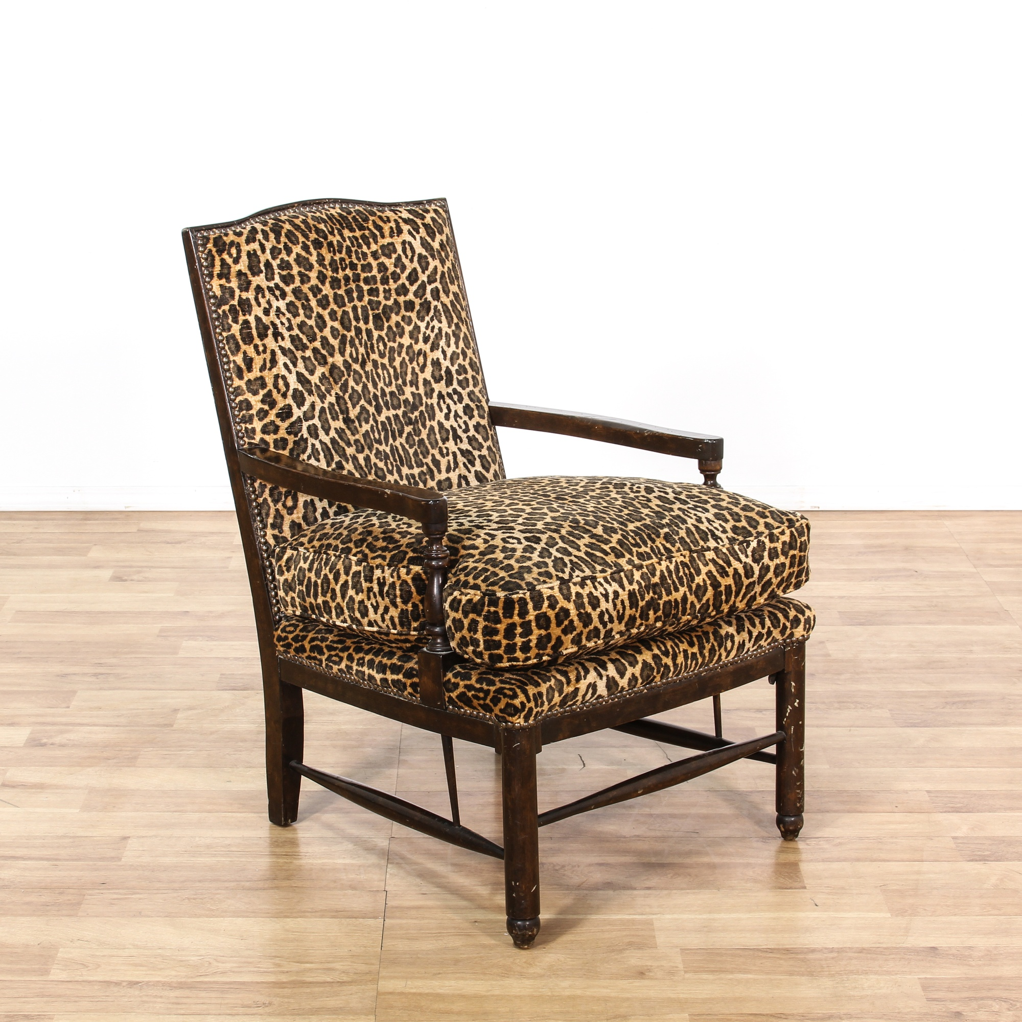 Missoni Style Print Accent Chair: Leopard Print Carved Wood Accent Chair