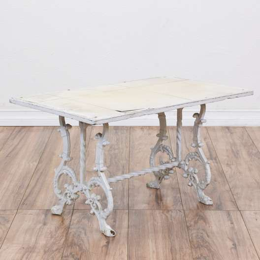 White Cottage Chic Wrought Iron Table