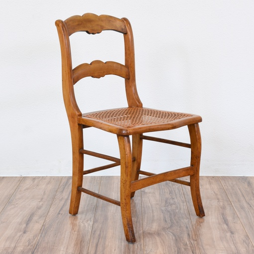 Curved Wood Ladder Back Chair W Caning Loveseat Vintage