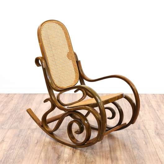 Bentwood Woven Cane Rocking Chair