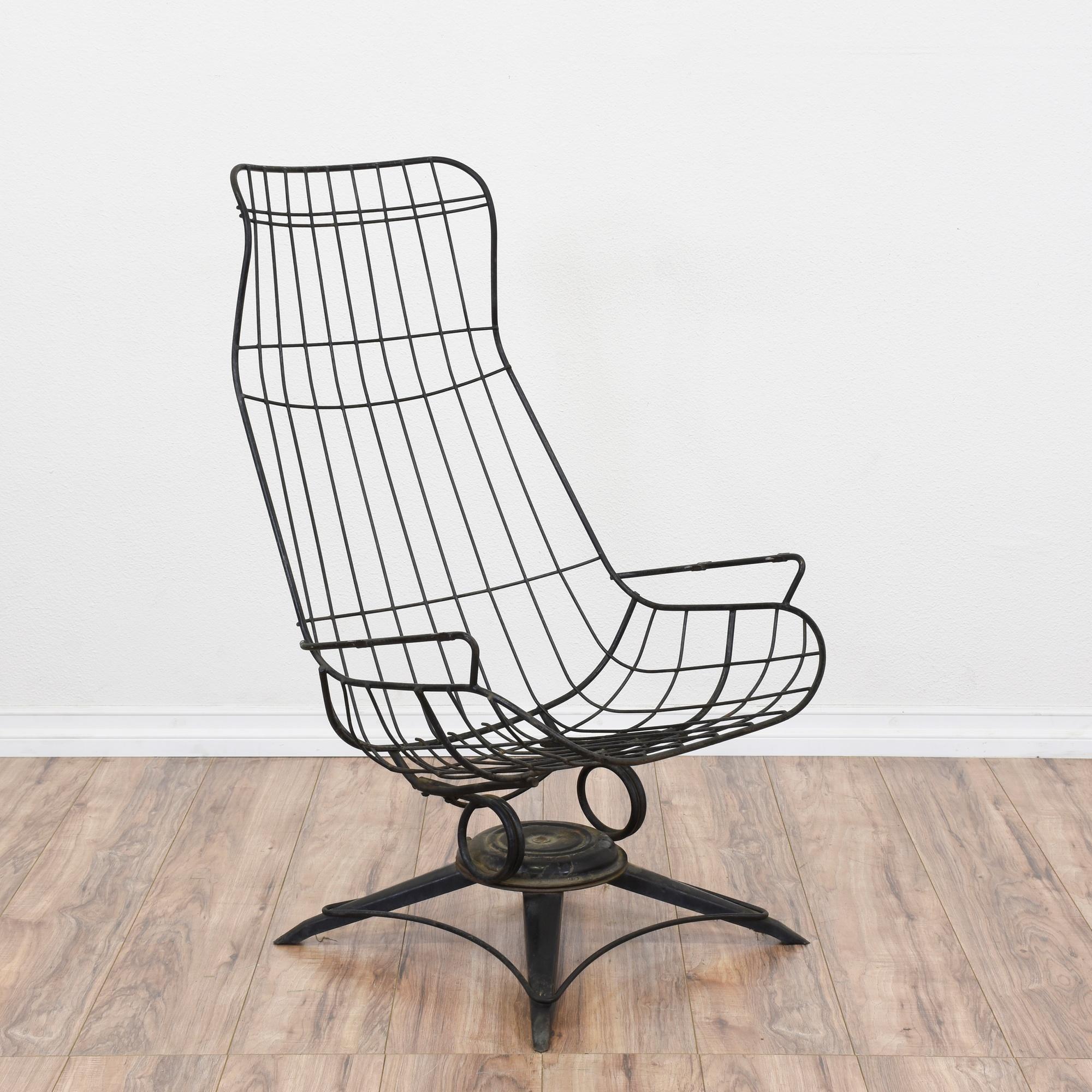 Mid Century Modern Homecrest Black Wireframe Chair